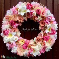 BOGLÁRKÁS kopogtató fagyi színekben (29 cm) KÉSZTERMÉK (pinkrose) - Meska.hu Floral Wreath, Wreaths, Decorations, Flowers, Google, Home Decor, Room Decor, Dekoration, Garlands