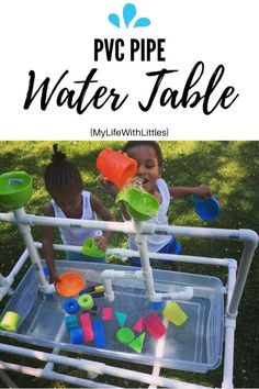 It is finally warm enough to get outside to enjoy the sunshine. One thing my toddlers absolutely love this time of year is water play. Sprinklers, swimming, splash pads… you n… Diy Outdoor Toys, Kids Outdoor Play, Backyard For Kids, Diy For Kids, Backyard Games, Outdoor Games, Outdoor Projects, Water Table Diy, Toddler Water Table
