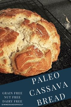 Paleo meals 538039486731880788 - Finally a Grain free bread that tastes as good as it looks! Using Cassava Flour, I was able to make a family approved grain free, paleo, nut free, and dairy free bread! You won't be disappointed! Dairy Free Bread, Gluten Free Baking, Dairy Free Recipes, Real Food Recipes, Gluten Free Whole Grain Bread Recipe, Gluten Free Sprouted Bread, Gluten Free French Bread, Gluten Free English Muffins, Wheat Free Bread