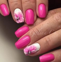 The Rainy Spring. Spring is all about the play of colors and feelings. This bold pink and white nail art design with the embossed flowers for spring is just another amazing example to get your nails amazingly covered with something extraordinary.