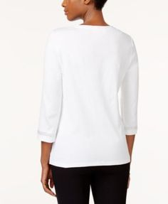 Karen Scott Petite Cotton Studded Split-Neck Top, Created for Macy's - Purple P/XL