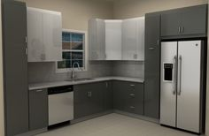Image result for kitchen modern fridge and pull out pantry