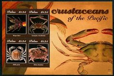 PALAU - Scott NEW ISSUE Crustaceans of the Pacific Sheetlet II of 4 Different (Birgus Latro Crab, Etc.) (P/3 @ Face) (1)  Another stamp from Herrick Stamp Company