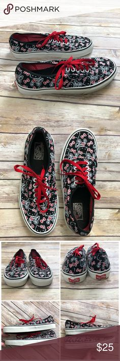 VANS Hello Kitty Lo Pro Sneakers 9.5 Womens Vans Hello Kitty Sneakers in black, white, and red, size 9.5 women's (8 mens). Gently worn, see photos for slight discoloration to white rubber and interior, minimal wear to exterior hello kitty design. Always happy to answer questions! Vans Shoes Sneakers