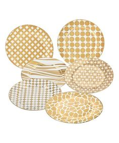 Loving this Gold Elegance Barrel Dessert Plate - Set of Six on #zulily! #zulilyfinds
