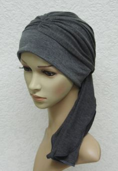 Grey head wear for women, chemo turban with ties, bad hair day scarf, chemo hats and caps, viscose jersey head covering, surgical cap by accessoriesbyrita on Etsy