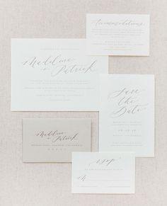 Gorgeous wedding invitation stationery set. Elegant calligraphy, feminine save the date, pastel tones, graphic design.