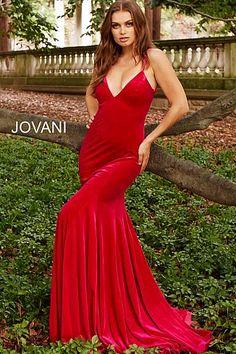 83e42b7009 Hot Pink Backless V Neck Fitted Velvet Prom Dress 57900  Jovani   RedPromDress  Prom2018