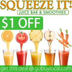 Get $1 OFF fresh squeezed #smoothies at Squeeze It Juice Bar & Smoothies with this fresh new #deal! #eatlocal #organic #stillwater http://gobuylocal.com/offerseo/Stillwater-MN/Squeeze_It%21/3833/4222