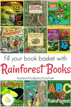 18 Amazing Rainforest Animals Books for Preschoolers Book Basket of Rainforest Books (preschool/early elementary) – via Homeschool Preschool Rainforest Preschool, Preschool Jungle, Rainforest Theme, Rainforest Animals, Preschool Books, Amazon Rainforest, Rainforest Crafts, Rainforest Classroom, Rainforest Project