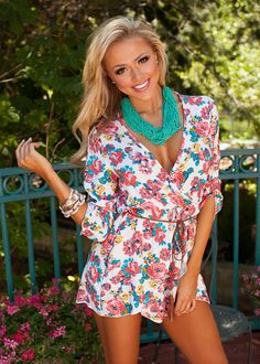 Because of You Floral Romper White - Modern Vintage Boutique
