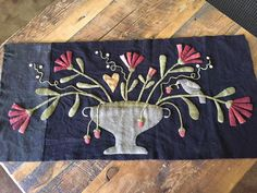 """Deb Blaufuss: My """"Strawberry Thief"""" wool mat from a retreat at Maggie Bonanomi's shop in Lexington, MO last week. Loved every moment of it!"""