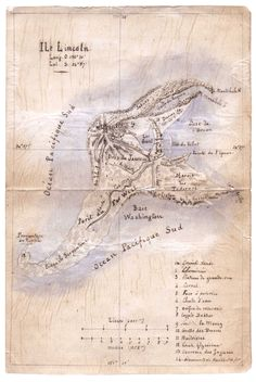 Jules Verne's original sketch map of Lincoln Island for L'Île mystérieuse (The Mysterious Island), 1874