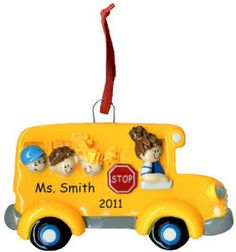 Personalized Lady School Bus Driver Christmas Ornament