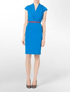 love the color and the pleated v-neck!