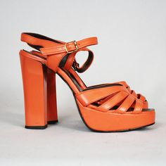 70's Vintage Glam Rock Orange Platform Shoes  I had a pair of these in white, loved them