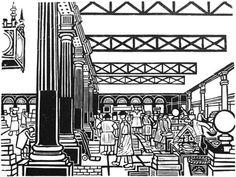 Billingsgate Fish Market by Edward Bawden. Lithograph after linocut