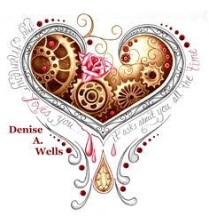 https://flic.kr/p/krUQcv | Memory Heart tattoo design by Denise A. Wells | Bleeding heart tattoo design including steampunk cogs and gears, rose, diamond.
