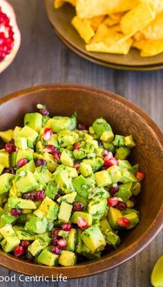 Creamy, buttery textured, tart and sweet all at the same time. This avocado pomegranate guacamole is a delicious twist when pomegranates are in season.
