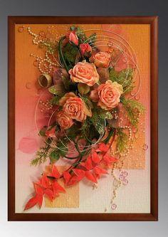 Объемная картина из природных материалов для интерьера Dried Flower Arrangements, Dried Flowers, Cold Porcelain Flowers, Plaster Art, Arte Floral, Wall Sculptures, Botanical Art, Clay Crafts, Diy Projects To Try