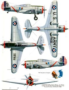 Curtiss P-36 Hawk, fighter aircraft of the USAAF and other airforces abroad.