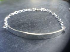 Sterling Silver Hammered Bar Bracelet, Silver Heart Charm Bar Bangle…