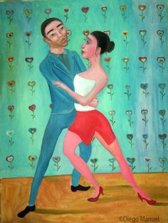 """Tango Love"" , acrylic on canvas, 97 x 130 cm."