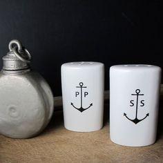 Ceramic Anchor Salt and Pepper shakers Salt Pepper Shakers, Salt And Pepper, Kitsch, Coleman Camping Stove, Kitchenware, Tableware, Serveware, Nautical Home, Nautical Dishes