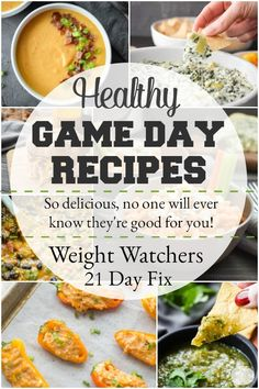 Healthy Game Day Recipes that are perfect for any Super Bowl party and include 21 Day Fix container counts and WW points! Healthy Game Day Recipes that are perfect for any Super Bowl party and include 21 Day Fix container counts and WW points! Healthy Appetizers, Healthy Eating Recipes, Appetizer Recipes, Whole Food Recipes, Healthy Snacks, Cooking Recipes, Healthy Dishes, Best Party Food, Game Day Food