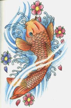 Drew this from a Chris Garver tattoo! from a book Koi Fish 2 Coy Fish Tattoos, Carp Tattoo, Tatoos, Japanese Koi Fish Tattoo, Autumn Tattoo, Dream Tattoos, Future Tattoos, Learn Embroidery, Japanese Embroidery