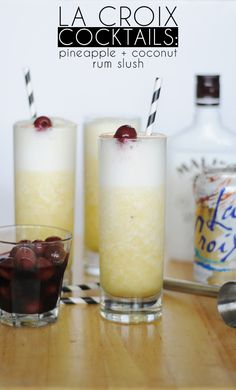 Pineapple Coconut Rum Slush made with LaCroix Sparkling Water!