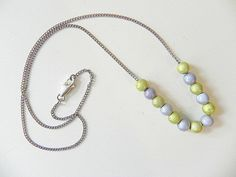 Vintage Bead Necklace Sterling Silver Gray by SongSparrowTreasures, $18.00