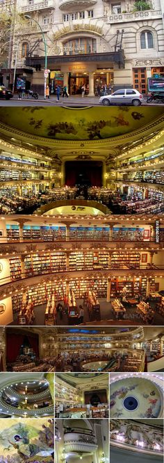 An Extraordinary Bookstore In Buenos Aires, Argentina. This is what I'd want heaven to look like!!
