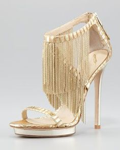 Metal Fringe Back-Zip Sandal, Gold by B Brian Atwood. Shower me with gold metal tassels! It's a shoe party! Stilettos, High Heels, Pumps, Sexy Heels, Pump Shoes, Shoe Boots, Silver Cocktail Dress, Cocktail Dresses, Brian Atwood Shoes