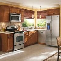 The o 39 jays white chocolate and black appliances on pinterest for Cheyenne kitchen cabinets lowes