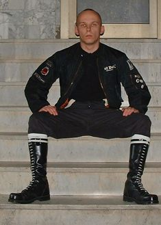 Skin Head, Leather Pants, Gay, Boots, Jackets, Style, Fashion, Leather Jogger Pants, Crotch Boots