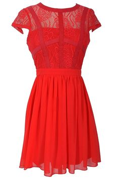 Capsleeve Lace Top Dress With Contrast Ribbon Overlay in Coral