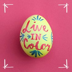 Make your message heard. Add interest to your Easter eggs with food color and a paint brush. Here's how: Mix 5 drops of yellow food color with 1 teaspoon vinegar and 1/2 cup hot water. Place egg in mixture for 5 minutes. Pat dry. Place a few drops of red and blue food color in separate, small bowls. Dip paint brush in desired color, then pat on paper towel to remove excess food color. Decorate eggs with festive words and designs. Whatever words and designs you desire.