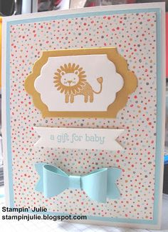 Stampin' Julie- Stampin' Up! Zoo Babies stamp set. Very Vanilla, Pool Party, Hello Honey paper. Sweet L'il Thing DSP. Hello Honey, Poop Party ink.