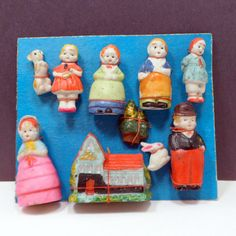 Set 10 Boxed Bisque Penny Dolls Miniature Cake Toppers Dog Bunny Japan