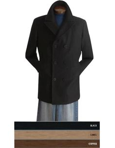 Keep out the wind and rain while adding a little something extra to your outfit this season with this wool pea coat. Coat Dress, Men Dress, Topcoat Men, Pea Coat, Double Breasted Suit, Wool Blend, Chef Jackets, Rain, Coats