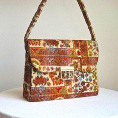 Velvet Tapestry Shoulder Bag in Rust Orange by BarkingSandsVintage, $38.00
