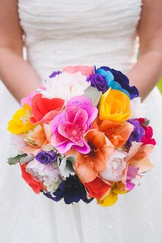 Bouquet with Fresh and Paper Flowers | Brides.com