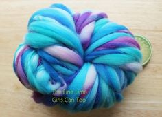 Wool Yarn Handspun Thick and Thin Superwash Blue  by thefinelime