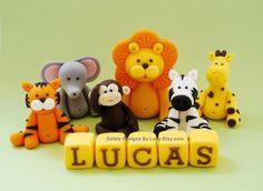 6 Edible Fondant Cake Toppers - Jungle Animals.