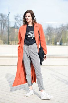 Casual T-shirt with tailored trousers