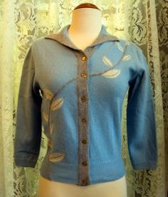 SOLD   100% Virgin Wool Cardigan with Leaf Needle-Felted Design