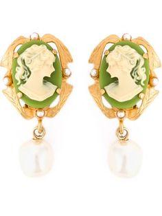 cameo pearl earrings