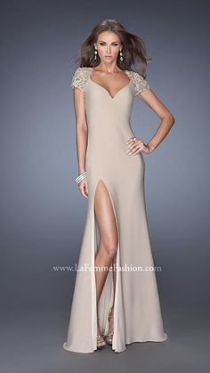 Open Back La Femme 20011 Nude Prom Dress