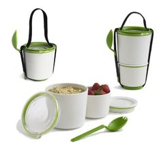 Two pots with an ingenious watertight seal. Separate your yoghurt and muesli or noodles and fruit salad - Lunch Pot is the perfect vessel for carrying your breakfast or lunch to work. The smaller pot . Adult Lunch Box, Design3000, Pots, Little Lunch, Lunch Containers, Lunch Boxes, Plastic Containers, Storage Containers, Muesli